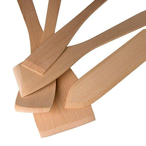 Uulki 17 TLG. Umweltfreundliches Kochutensilien Set aus Buchenholz - Holz Küchenutensilien Kochlöffel, Teigschaber, Pfannenwender, Salatbesteck, Grillzangen - 4