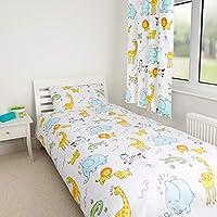 Zappi Co Safari Animal Design Bedding Set Childrens Boys Girls Zoo Print Reversible Single Bed Duvet Cover and Matching Pillowcase