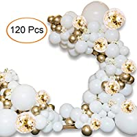 Balloon Arch Kit - 120 PCS 5M Balloon Garland Kit with Gold White Balloon Confetti Balloon and Metallic Balloons for Parties Baby Shower Birthday Bachelorette Hen Party Backdrop Background Decoration