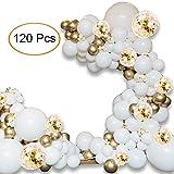 ATFUNSHOP Arche Ballon 5M - 120PCS Ballon Blanc et Or & Ballon Confettis pour Mariage Anniversaire