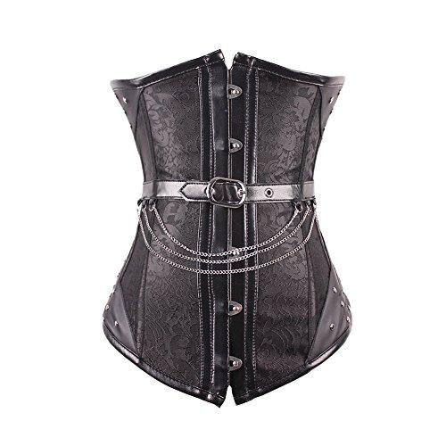 FeelinGirl Damen Vintage Corsage Top Korsett Steampunk Gothic Punk Korsage XL Schwarz mit 14...