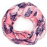 ManuMar Loop-Schal für Damen | Hals-Tuch mit Katzen-Motiv als perfektes Sommer-Accessoire | Schlauch-Schal - Das ideale Geschenk für Frauen
