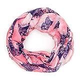 MANUMAR Loop-Schal für Damen | Hals-Tuch in rosa lila mit Katzen Motiv als perfektes Herbst Winter Accessoire | Schlauchschal | Damen-Schal | Rundschal | Geschenkidee für Frauen und Mädchen