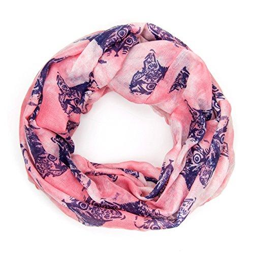 ManuMar Loop-Schal für Damen   Hals-Tuch mit Katzen-Motiv als perfektes Sommer-Accessoire   Schlauch-Schal in Rosa Lila - Das ideale Geschenk für Frauen