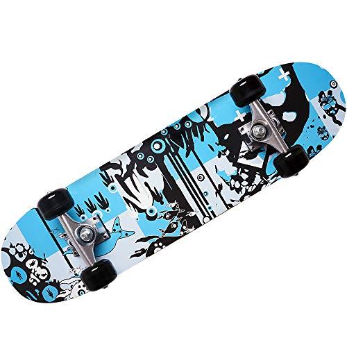 Deuba Atlantic Rift Skateboard Skate Board Komplettboard Deck Funboard Holzboard ABEC 9 80x24cm Ahornholz blau -【Farbauswahl】