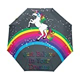 BENNIGIRY Einhorn Automatischer Regenschirm 3faltbaren Parasol Sun Schutz für Frauen