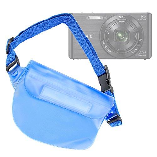 Galleria fotografica Marsupio/borsa impermeabile blu per fotocamera Nikon Coolpix AW100 | Sony DSC-W830 | Easypix Aqua W1024 | Rollei Sportsline 60 | Canon Powershot SX620 HS , IXUS 185 - DURAGADGET