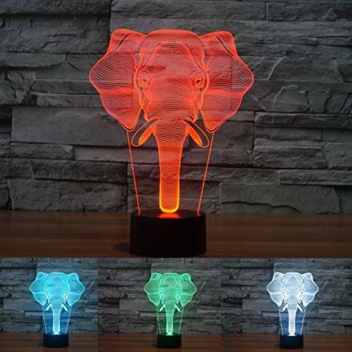 3D elefanten Glühen LED Lampe 7 Farben erstaunliche optische Täuschung Art Skulptur Ferneinstellung Lichter produziert einzigartige Lichteffekte und 3D-Visualisierung für Home Decor-kreative Geschenk