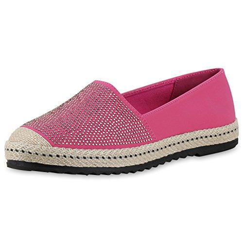 Damen Espadrilles Metallic Slipper Bast Profilsohle Flats Schuhe Pink Strass