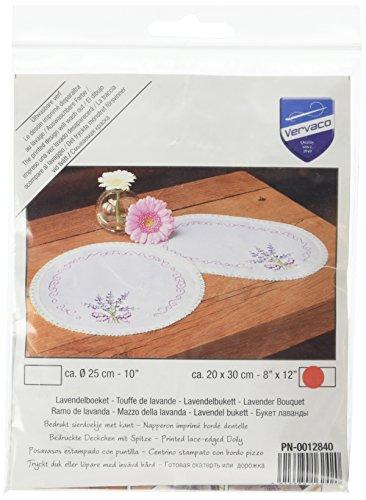 Vervaco Deckchen Lavendel bedruckte Deckchen mit Spitze und Garn, Baumwolle, Mehrfarbig, 20.0 x 30.0 x 0.30000000000000004 cm, 1 Einheiten (Spitze Baumwolle, Garn,)