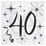 20 weiße Servietten zum 40. Geburtstag