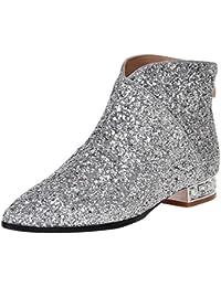 AIYOUMEI Damen Glitzer Flach Stiefeletten Bequem Ankle Boots Berbst Winter Stiefel Schuhe ZBbTr
