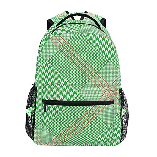 Graciasu - zaino per computer portatile, a quadretti di colore verde chiaro, per studenti, ragazzi, ragazze, uomini, donne, bambini, zaino da viaggio casual
