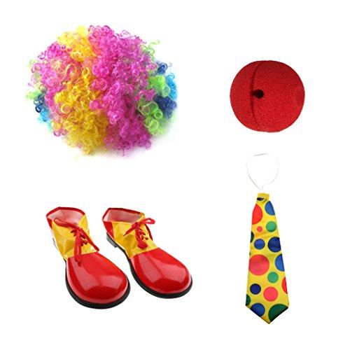 sharprepublic Clown Joker Kostüm Zubehör Schuhe Perücke Red Nose Jumbo Polka Dots Krawatte (Red Joker Kostüm)