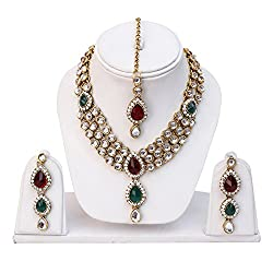 Shining Diva Multicolor Kundan Necklace With Earrings Set For Women