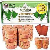 BEEYOTEC 50x Premium Zedernholz Ringe VORTEILSPACK, Natürlicher Bio Mottenschutz für Kleiderschrank, Chemiefreie Mottenfalle gegen Kleidermotten, 50 Zedernholzringe