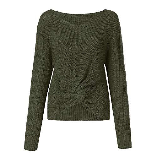 MEIbax Damen Langarm Einfarbig Strickpullover V-Ausschnitt Sexy Kreuz Verknotet Panel Pullover Sweatshirt ()