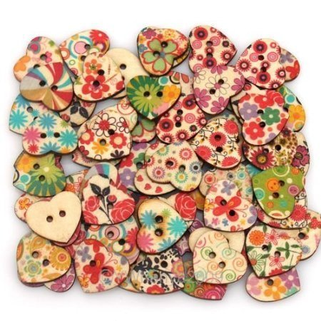 Heart Shaped Painted Wooden Buttons
