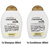 Ogx® (ex Organix), latte di cocco nutriente, shampoo, 385 ml + condizionatore 385 ml - cura lussuosa, cura profonda per capelli colorati