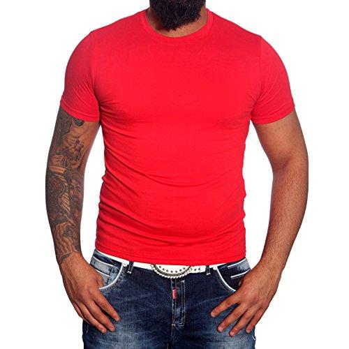 Subliminal Mode - T-shirt Rundhals Herren Bogen Mehrfarbig Mode Ck01 Polo Rot