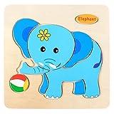 Sonnena Holzpuzzles, Komisch Holzspielzeug Karikatur Tierpuzzle Spielzeug Puzzle aus Holz Spielzeug Lernspielzeug Pädagogische Kinderspielzeug für Kinder ab 1-5 Jahre Alt (D)