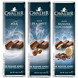 Dafortos Cavalier - Maltit-Schokoriegel-Auswahl 'Vollmilch' (Vollmilch, Milch-Praliné, Milch-Banane-Kakaobohne)