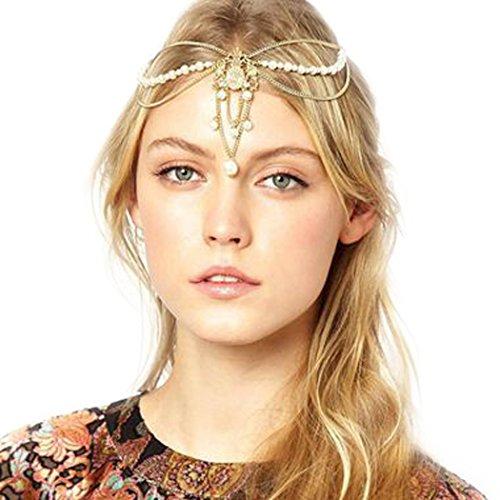 JOVONO Bohemia Kopfkette Stirnband Kopfschmuck mit Anhänger für Damen (Kopfschmuck ägyptischer Gold)