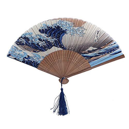 DFRgj Handheld Faltfächer Chinesisch/Japanisch Vintage Retro Stoff Silk Bambus Handfaltenfächer Bambus Handwerk Fan Welle Muster Alte Fan Hohl Schnitzen Handwerk