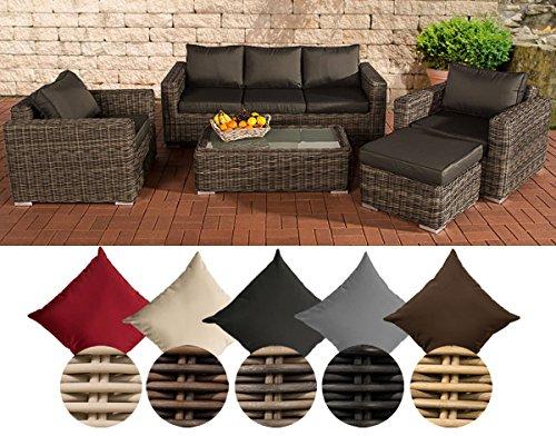 CLP Polyrattan-Lounge MADEIRA inkl. Polsterauflagen | Gartenmöbel-Set: ein 3er-Sofa, zwei Sessel, ein Loungetisch und ein Hocker | In verschiedenen Farben erhältlich Bezugfarbe: Terrabraun, Rattan Farbe schwarz