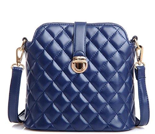 Femmes Sac à bandoulière matelassé PU Leather Crossbody Sac enveloppe sac (22 * 22cm) deep blue