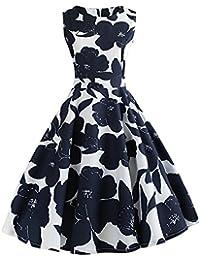 0bc3ceedb00 Robe Vintage 50 s 60 s Style Audrey Hepburn Floraux Imprimé Robe plissée  sans Manches Col Rond Coupe