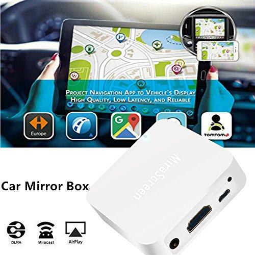 MiraScreen Coche Car WiFi Display Dongle Mirror Box 1080P Pantalla Mirroring Dongle Soporte Airplay Miracast DLNA Convierta Dispositivos Android/iOS a la Pantalla del automóvil con Salida AV/HDMI