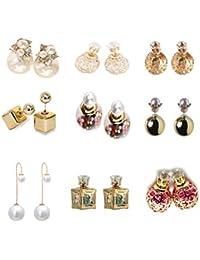 FemNmas Gold Plated MultiColour Pearl Stud Earrings Combo Of 9 Earrings For Girls & Women Casual Wear | Diwali...