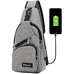 bstcentelha Sling Schulter-Umhängetasche Tasche für Herren Frauen leichter Wandern Reisen Rucksack Tagesrucksack mit USB Lade-Schnittstelle, grau