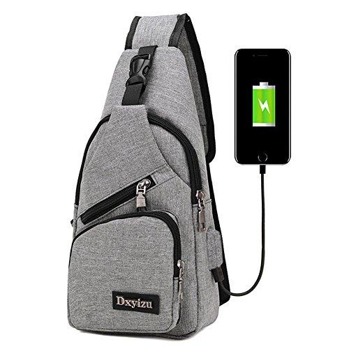 bstcentelha Sling Schulter-Umhängetasche Tasche für Herren Frauen leichter Wandern Reisen Rucksack Tagesrucksack mit USB Lade-Schnittstelle, grau (Herren-kleines Licht)