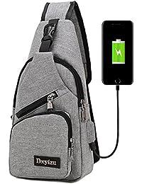Bolsa bandolera, de bstcentelha, para hombres y mujeres, ligera, para senderismo, mochila de viaje con puerto de carga USB, gris