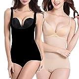 Libella 2 Unidades Body Faja Modeladora Reductora Faja de Mujer Que realzan tu Figura con Efectos Vientre Plano y con la Puntera Reforzada 3603 Negro+Beige M/L