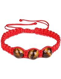 Pulsera trenzada de piedra de ojo de tigre natural de 10 mm, cuerda roja, pulsera de la suerte ajustable para hombres y mujeres