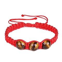 Idea Regalo - 10mm occhio di tigre naturale intrecciato bracciale corda rosso Lucky braccialetto braccialetto regolabile per uomini e donne