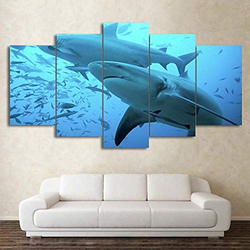 JZGDH Wall Art Prints Modular Pictures Quotes 5 Set Marine Animal Shark Poster Lienzo Pintura En Aerosol HD Pasillo Decoración para El Hogar 200x100cm