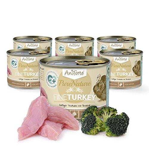 AniForte® PureNature 6x200g Katzenmenü für Katzen getreidefrei Fine Turkey Katzenfutter Nassfutter- Naturprodukt für Katzen (Truthahn und Brokkoli, 6x200g)