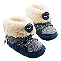 EFINNY Baby Toddler Soft Sole Snow Boots Furry Winter Warm Crib Shoes with Drawstring Fashion Infant Foldable Boots for 0-18 Months