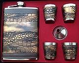 Original GMMH Flachmann Set LN 35-42 Taschenflasche Edelstahl mit Schraubverschluß Taschenflachmann Flask 240 ml