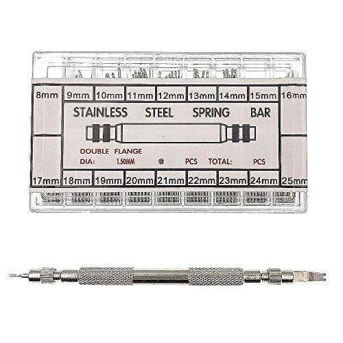 JZK® 360 pcs 8-25mm Edelstahl Uhren Feder Pins Federstege + Stifte Uhr Armband Balken Bars, Uhren Remover Repair Werkzeug Tool Kit