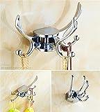Muzyo Rotación 3 ganchos pared oro ropa tela gancho pared colgador gancho del traje de baño accesorio colgador, 4