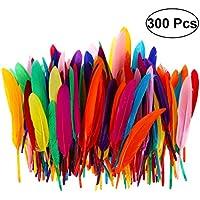 TOYMYTOY, 300 plumas de color natural para manualidades, bodas, casa, decoración de fiestas (colores variados)