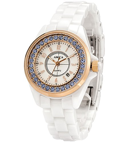 AMICA Women's Dress Ceramics Band Quartz Hardlex Glass Diamond Wrist Watch 50M Water Proof Luxury Gift (Gold Blue)