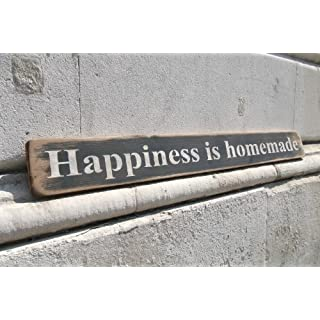 'Happiness is homemade' large handmade wooden sign by vintage product designer Austin Sloan