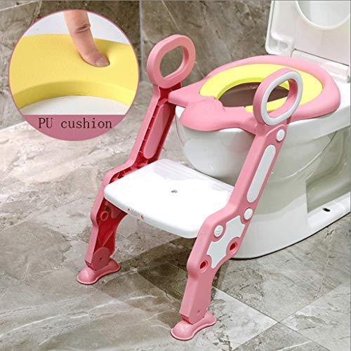 WangYi Toilette für Kinder- Kinder WC-Leiter WC-Schüssel WC-Sitz 1-7 Jahre alte männliche und weibliche Baby-Trainingsleiter (Farbe : Pulver, größe : 44.5x36.5x62cm) (Pulver Männliche)