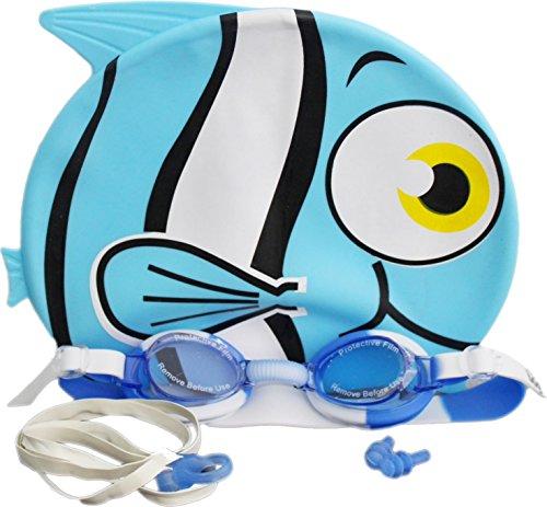 Only Swim Bonnet de Bain pour Enfants Piscine Fun Freddy Le Poisson Nez Clip d'oreille Plug & Lunettes de Natation de